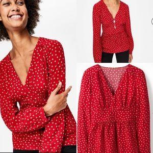 Boden poinsettia random spot blouse